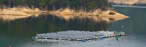 Solar Power Plants on Lakes and Dams