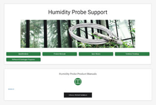 Product support information for humidity probes.