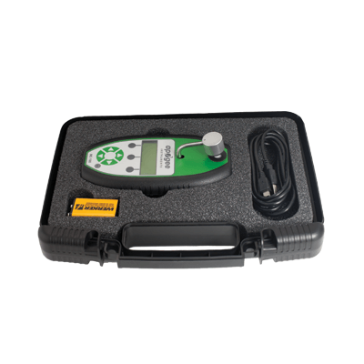 The MC-100 chlorophyll concentration meter comes with a protective case.