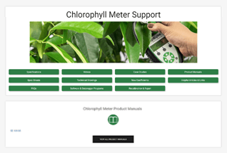 Product support information for chlorophyll concentration meters.