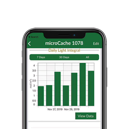 The Apogee Connect app provides daily, weekly, and monthly DLI readings.