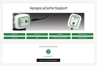 Product support information for µCaches.