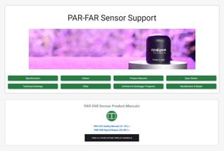 Product support information for PAR-FAR sensors.