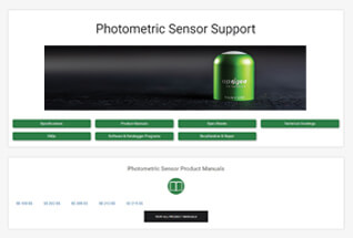 Product support information for photometric sensors.
