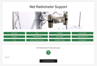 Product support information for net radiometers.