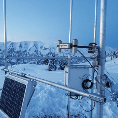 Apogee SN-500 net radiometer mounted on a remote solar-powered station.