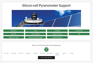 Product support information for silicon-cell pyranometers.