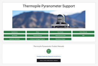 Product support information for thermopile pyranometers.