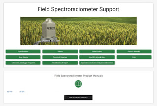 Product support information for field spectroradiometers.