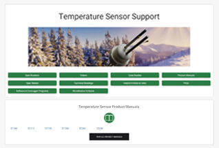 Product support information for temperature sensors.