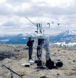 Infrared radiometer measures ground surface temperature to measure snow runoff